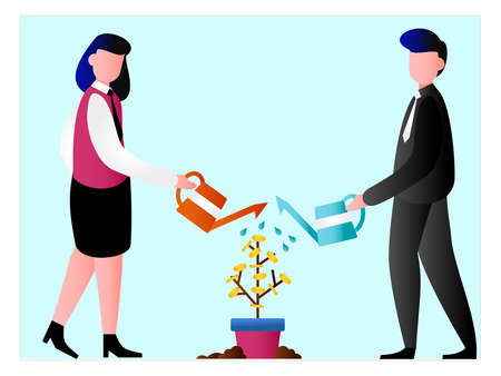 Investment vector concept: frame of business couple watering the coin plant Vettoriali
