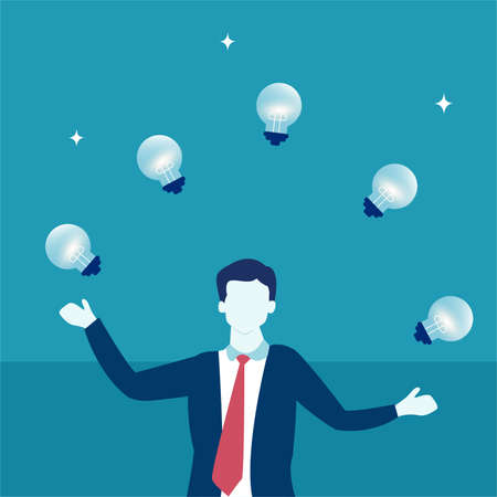 Business idea vector concept: portrait of faceless businessman juggling lightbulbs