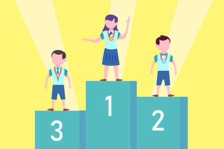 Championship vector concept: students standing on championship podium while wearing medals for each kids