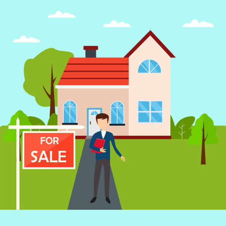 House for Sale vector concept with male figure wearing a blue suit, while holding a red document at the house yard in cyan skies background