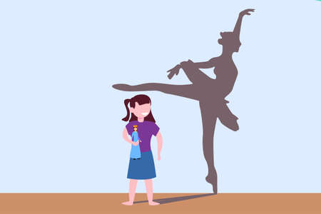 Ballet vector concept: girl holding princess doll while watching the ballerina dancer happily