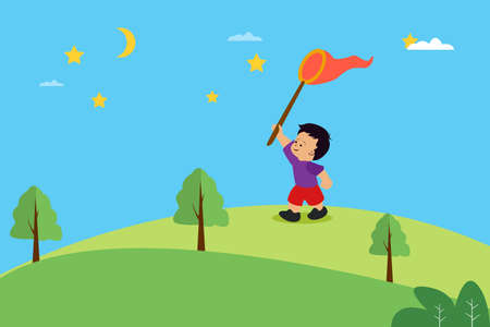 Child's dream: boy playing with his big nest while running on the hills