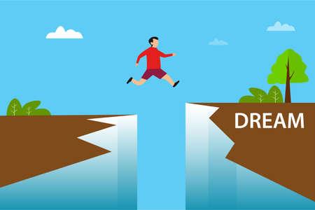 Leap of faith vector concept: man jumping through the cliff gap towards the Dream word 向量圖像