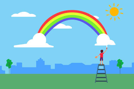 Kids painting vector concept: back view of unidentified boy painting the rainbow at the green field 向量圖像