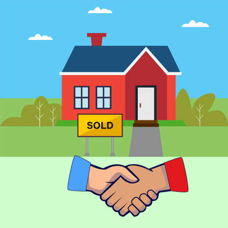 Sold real estate vector concept with red house being sold above the handshake icons, in the blue skies background
