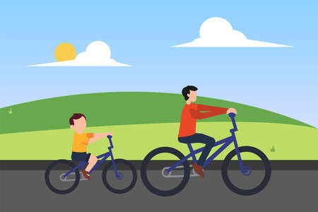 Father's Day vector concept: father riding bicycle with his son at the green hills field