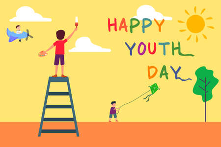 Happy Youth Day vector concept: group of children playing outside at summer day 向量圖像