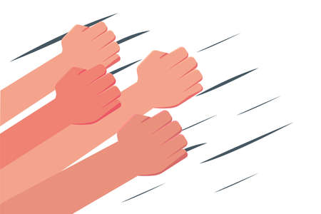 Crowd fist vector concept with hands punching through the wind, in the white background