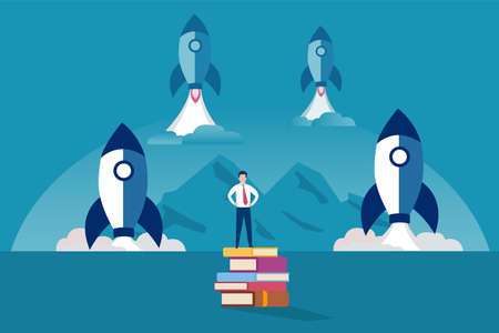 Knowledge is king vector concept: Businessman standing on pile of books with rockets launching