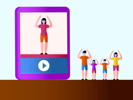 Healthy lifestyle vector concept: Family of four working out together following instructor on a video player