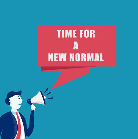 New Normal vector concept: Businessman with megaphone announcing the time for a new normal after the lockdown
