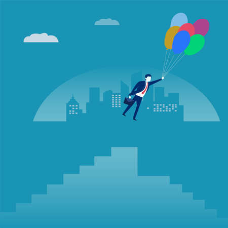 Business fantasy vector concept: male figure wearing a dark blue suit and holding a briefcase while hanging to floating balloons, flying through the city