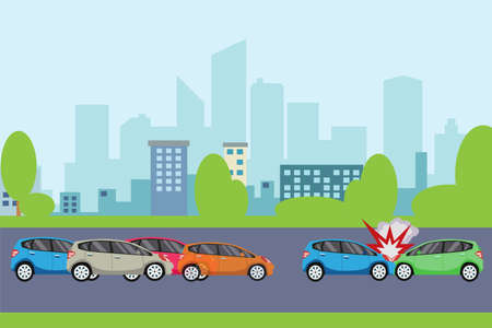 Traffic accident vector concept: two cars colliding each other on the road in the middle of heavy traffic