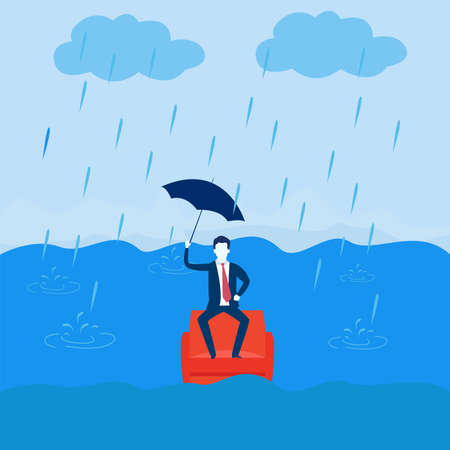 Business crisis vector concept: Businessman sitting on a sinking sofa with an umbrella 일러스트