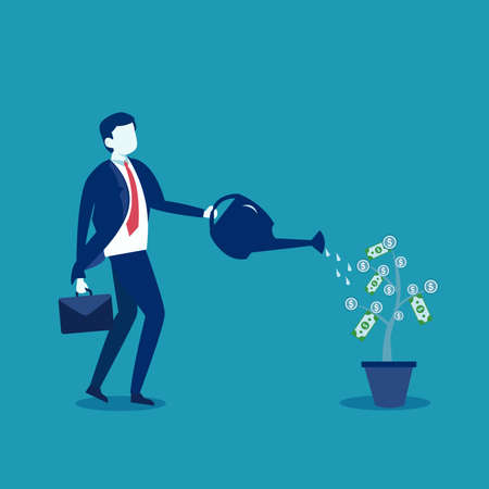 Business investment vector concept: Businessman pouring water to a growing money tree