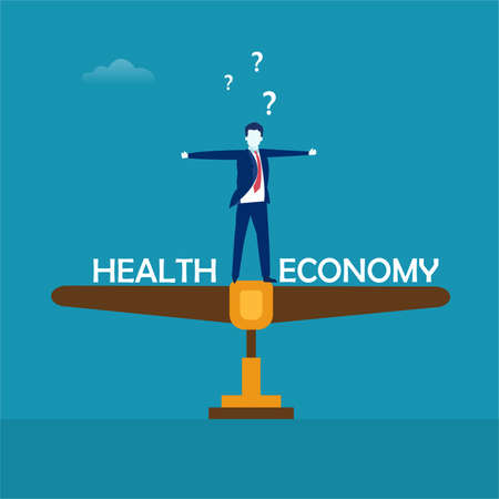 Health and Economy balance vector concept: businessman standing between
