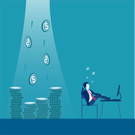 Business vector concept: Make money anytime even when you are sleeping