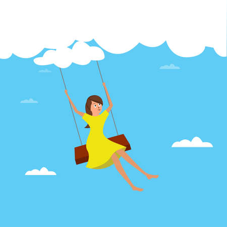 Child dream vector concept: girl playing on a swing hanging from the clouds happily