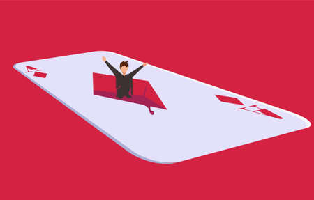 Gambling addiction vector concept, with male figure drowning in big diamond ace card icon in red background