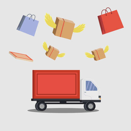 Package delivery vector concept with flying shopping bag & package boxes on the delivery truck in the white background