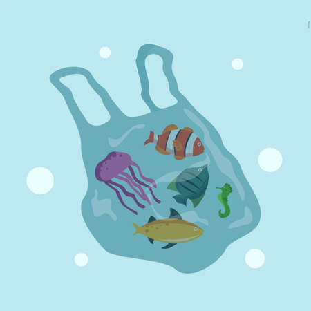 Plastic toxicity vector concept, with heterogenous fishes trapped inside a plastic bag