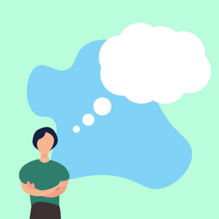 Portrait of faceless female figure thinking of something vector concept in green background, with blue shades