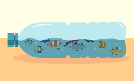 Plastic toxicity vector concept, with heterogenous fishes trapped inside a plastic bottle on the sand beach