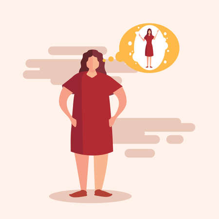 Obesity vector concept with fat female figure thinking & wishing for thinner body in pink background