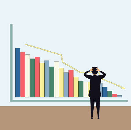 Declining business chart vector concept with male figure wearing a black suit, while feeling confused of the declining business graph in violet background