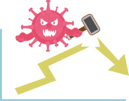 Coronavirus bankruptcy vector concept, with red virus monster hammering yellow business chart arrow in the white background