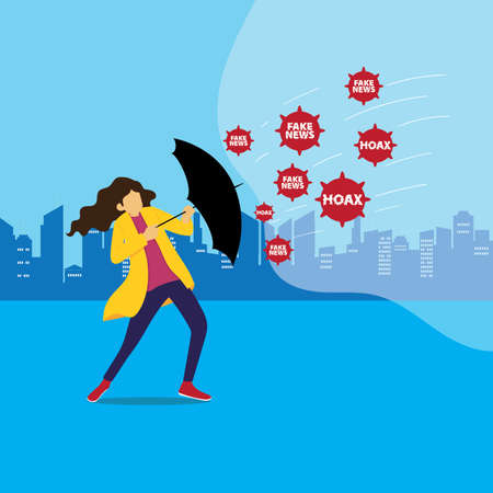 Hoax vector concept with female figure opening & using her umbrella for protection from rushing Fake News & Hoax icons in blue cityscape background