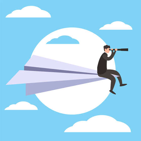 Business goal vector concept with male figure wearing black suit while peeking distantly through his telescope on the paper plane, flying in blue cloudy skies