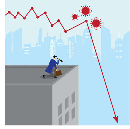 Covid-19 economy crisis vector concept with male figure wearing a blue suit while peeking at the city through his telescope with blue cityscape background and red declining business charts Vektorgrafik