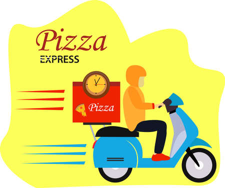 Pizza express vector concept with a figure wearing pizza delivery uniform while riding its express scooter quickly in the white & yellow background