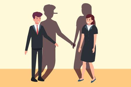 Liar business vector concept: Liar businessman with long nose shadow talking with businesswoman Ilustración de vector