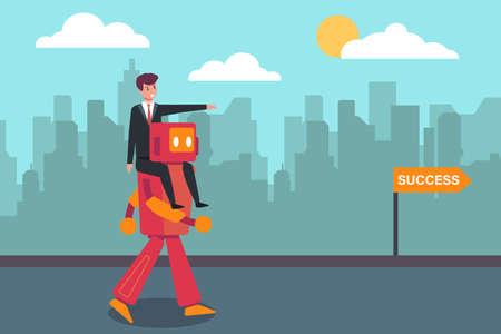 Artificial intelligence robot vector concept: Businessman riding artificial intelligence robot to gain his success