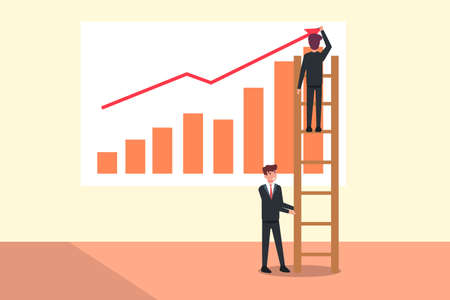 Teamwork vector concept: Businessman holding the ladder to help his partner drawing financial graph 向量圖像