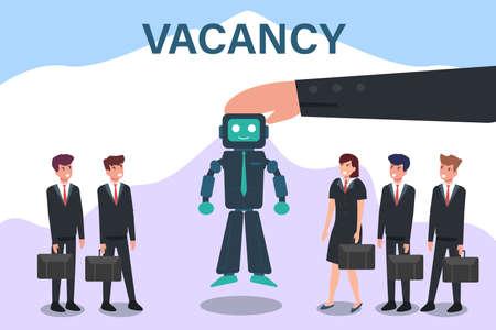 Artificial intelligence robot vector concept: Hands choosing artificial intelligence robot to fill the vacancy 矢量图像