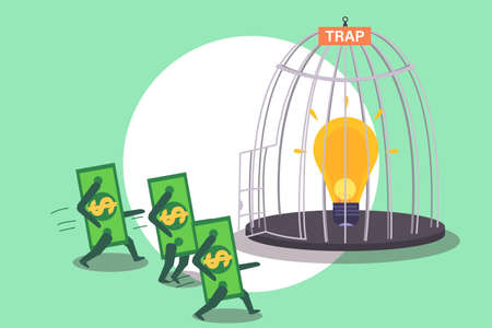 Money tap vector concept: Light bulb in the birdcage to trap money