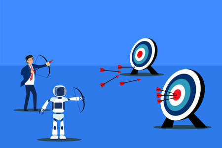 Artificial Intelligence robot vector concept: Robot and businessman competing to shoot the arrow on the center of the target