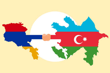 War concept: Hands shaking with Armenia country flag and Azerbaijan country flag background 向量圖像