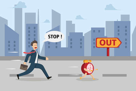 Time is running out vector concept: Businessman chasing alarm clock to signpost with out text