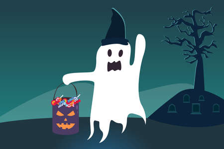 Halloween vector concept: Halloween ghost flying with witch hat and carrying a bucket full of candy