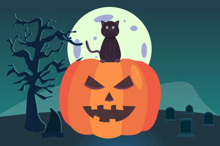 Halloween vector concept: Scary pumpkin and black cat on the graveyard at night