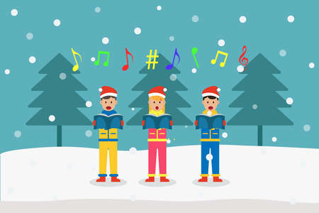 Christmas day vector concept: Group of choir singing christmas carols together while holding songbook