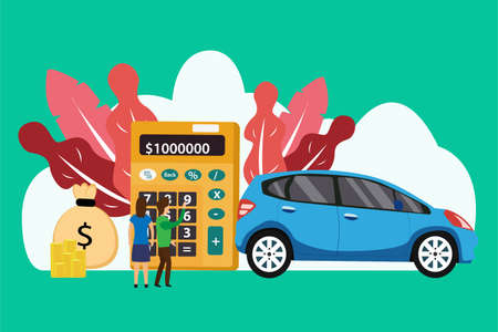 New car buy concept: Couple counting money with calculator to buy a new car Vecteurs