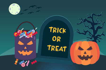 Halloween vector concept: Trick or treat text on the tombstone with scary pumpkin and candy on the bucket 矢量图像