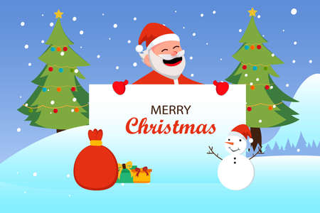 Christmas day vector concept: Santa claus showing merry christmas text on the card with snowman and gifts 向量圖像