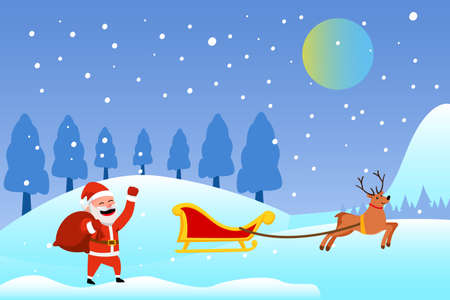 Christmas day vector concept: Santa claus walking on the snow land with reindeer while carrying sack of presents