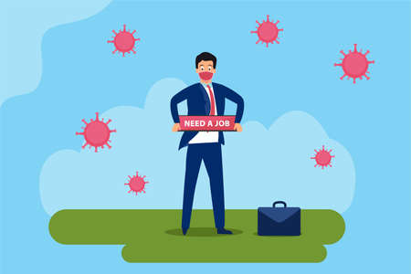 Unemployed vector concept: Unemployed businessman wearing face mask and holding Need a Job text with coronavirus background